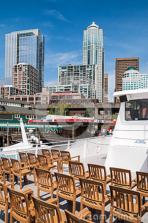 View of Central Waterfront and downtown Seattle Editorial Photo