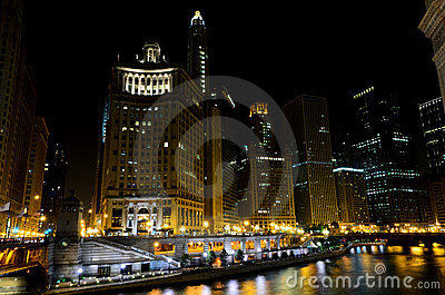 View on Chicago at night