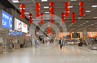 Hustle Bustle  of Bangkok Airport Editorial Stock Photo