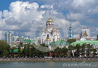 View of the Church on Blood in Yekaterinburg