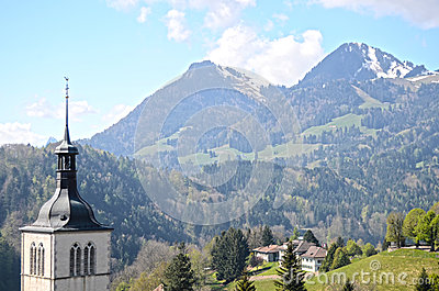 View on church  near Gruyere castle, Switzerland