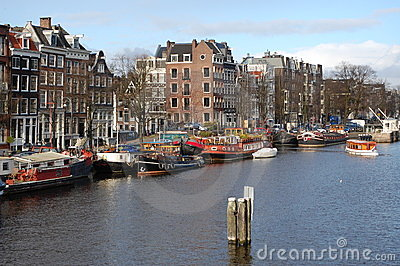 A view of the city of Amsterdam with canal houses