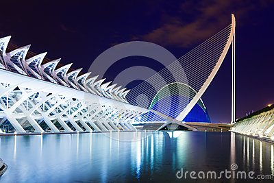 View of City of Arts and Sciences in night time Editorial Photography