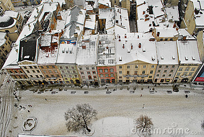 View from city hall tower in winter
