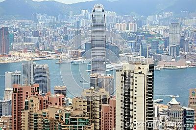 View of city and harbor in Hongkong Editorial Stock Image