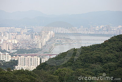View of the city of Seoul Korea