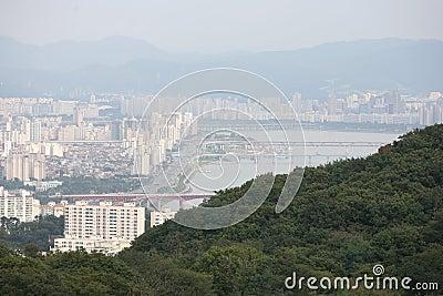 View of the city of Seoul Korea