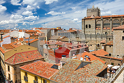 View from the city wall, Avila, Spain Editorial Stock Photo
