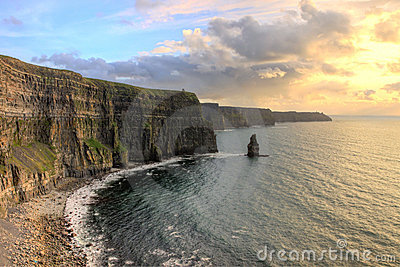 View of the Cliffs of Moher at sunset in Ireland.