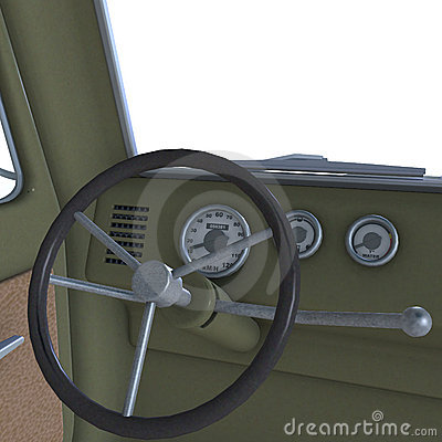 View of a cockpit of a pickup