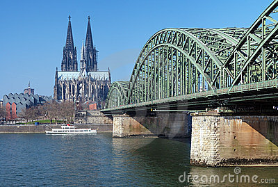 View on Cologne Cathedral and Hohenzollern Bridge