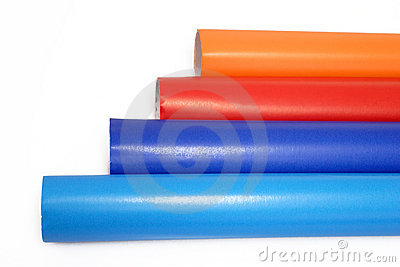 A view of colorful rolls of gift wrapping paper