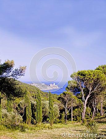 View of the Costa Brava sea shore