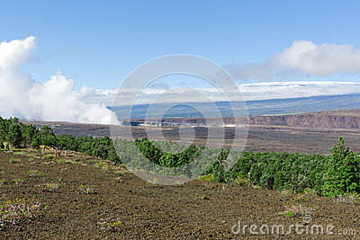View of crater and old lava field in Hawaii Volcanoes Park