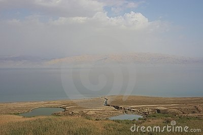 View on Dead Sea and Jordan side.
