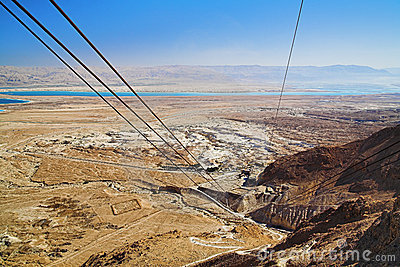 View of the Dead Sea and the mountains of Jordan