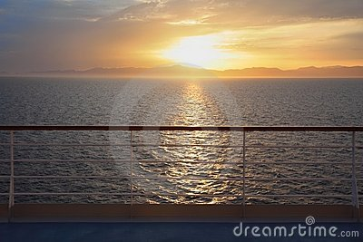View from deck of cruise ship.