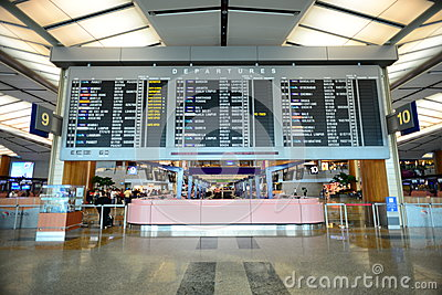 View of Departure display of Singapore Airport Editorial Photography