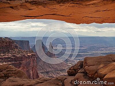 View of desert through arch