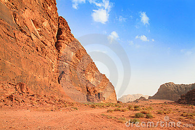 View on desert rock formation - Wadi Rum, Jordan