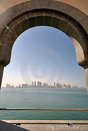 View of Doha city from The Museum of Islamic Art