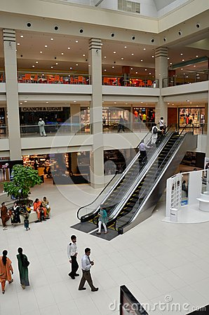 View of Dolmen City shopping mall and escalator in Karachi, Pakistan Editorial Image