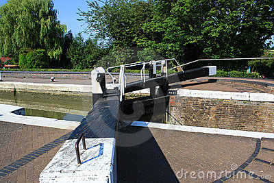 View down the arm of a lock