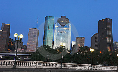 View on Downtown Houston at Night Fall