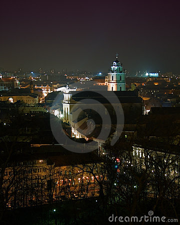 View of downtown Vilnius, Lithuania, at night