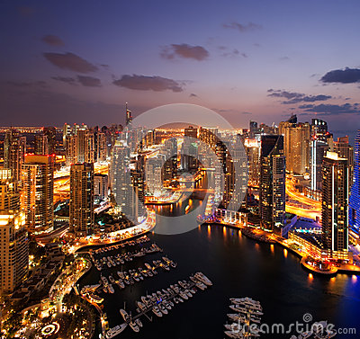A view of Dubai Marina, at Dusk, also showing JBH Editorial Image