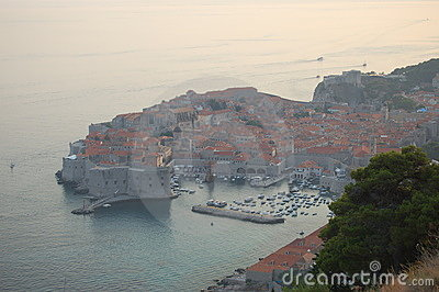 Sunset view on Dubrovnik, Croatia