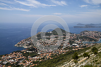 View on Dubrovnik from mount