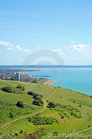 View of Eastbourne from the downs
