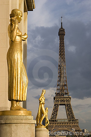 View of the Eiffel tower from Trocadero in Paris,
