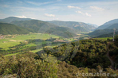 View of El Pla de Sant Tirs in Spanish Pyrenees