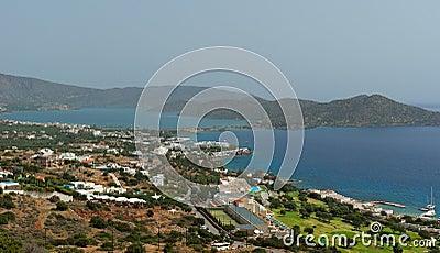 View on Elounda coastline and resorts