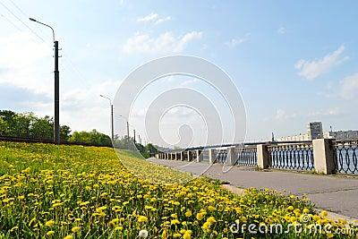 View of embankment Neva river