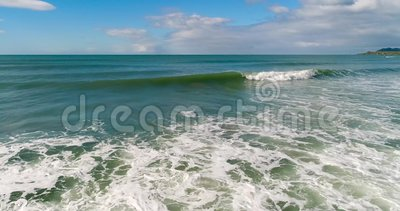 A view of the emerald waves that foam. Shevelev. stock footage
