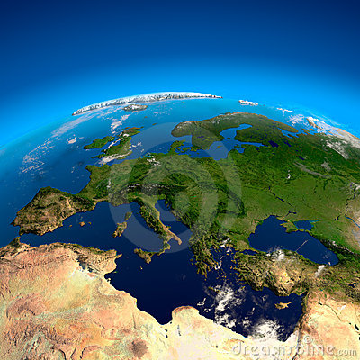 View on Europe from a height