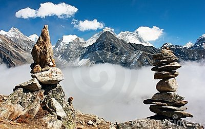 View of everest with stone mans