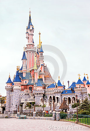 View of famous castle in the Disneyland Paris. France. Europe. Editorial Stock Photo