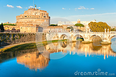 View on famous Saint Angel castle, Rome, Italy.