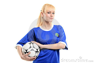 A view of a female soccer player