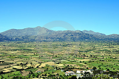 View of the fertile Lassithi Plateau in Crete