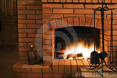 View on a fireplace