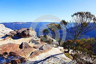 View from Flat Rock Kings Tableland Wentworth Falls Blue Mountai