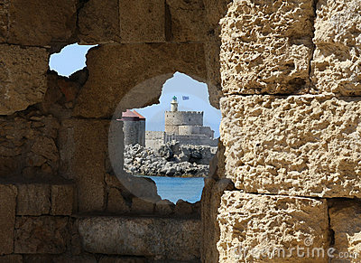 View on the fortress in Rhodes from the hole in wa
