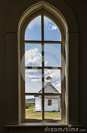 Free View From Inside Church Window Looking Out To Another Church Royalty Free Stock Images - 44444479