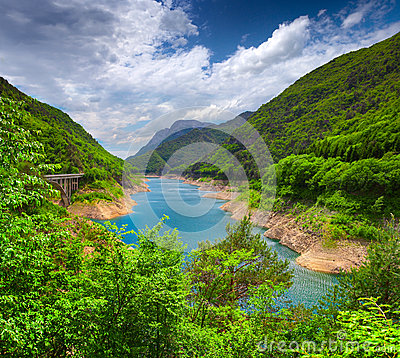 Free View From The Bridge Over The Lake Valvestino Stock Photography - 41250562