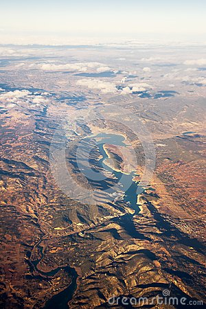Free View From The Plane Of The Artificial Lake Mar De Castilla Stock Photography - 116015572